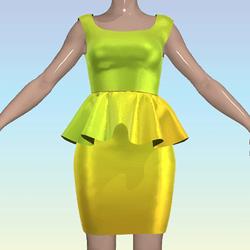 Green Orange Ombre Shiny Dress
