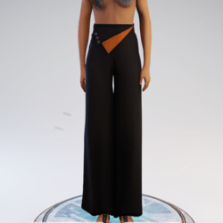 Palazzo Pants - Black and Orange Polyester