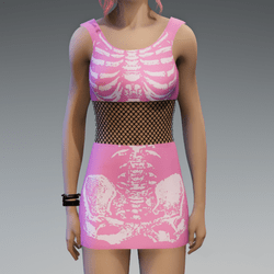 Skeleton Minidress Pink and White
