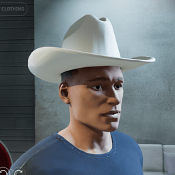 Cowboy Hat close fitting for No Hair (Male)