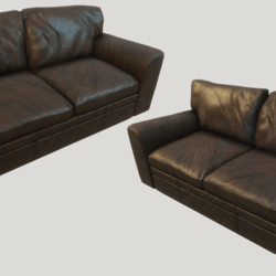 Old Brown Leather Couch - Dirty