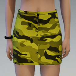 Yellow Camouflage Skirt with Black Zipper
