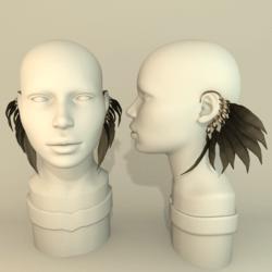 Feather earrings - BLACK/NUDE