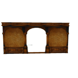Panelled Wall with arched Door frame