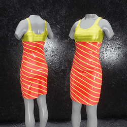 Dress Elly latex stripes yellow orange
