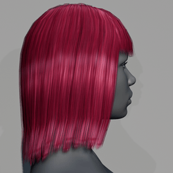 Hair - Middle Long with Fringe - Pink