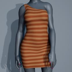 One Shoulder Striped Dress - Cream