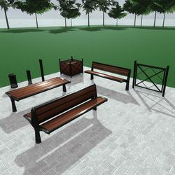 Street urban furniture set