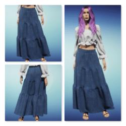 Long Denim Tiered Skirt