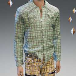 Green Stressed Plaid Shirt - Male