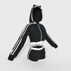 Hoodie and Shorts Black