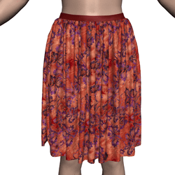 Marvelous Skirt with Fiery Batik Autumn Leaves Texture
