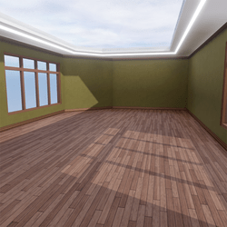 Skybox - Green and Medium Brown - The Little Room With Ceiling Lamp