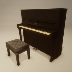 Upright Piano black, old, with bench