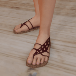 Sandals - Flip-flops with Red  Leaf