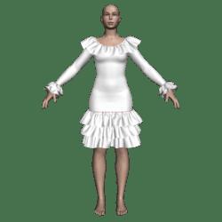 Ruffled Salsa Dress LS