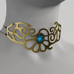 Golden necklace with glowing gem