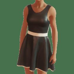 DRESS ,BLACK SATIN
