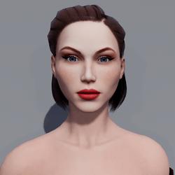 Angela - Porcelain - Light Red Makeup - Blue Eyes - Women AV2