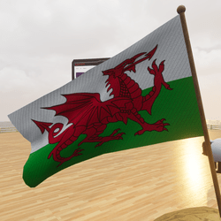 Welsh Wales Flag Animated Wind Effect