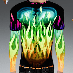 Male - GLOW-Flames Double-Long Sleeve T-Shirt (non-animated)