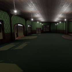 Corner Saloon - Green - With Ceiling Lamps