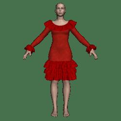 Ruffled Salsa Dress LS - Red Velvet-n-Lace