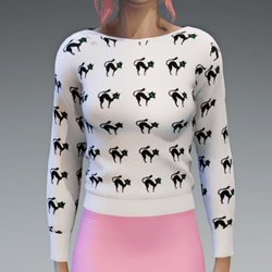 White Pullover with crazy Cats Print