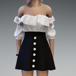 Flattering Spring Dress with White Top and Black Skirt