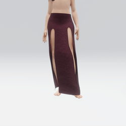 Simple Split Skirt Bordo (TM)