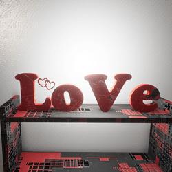 LOVE LIGHT SIGN - RED METAL