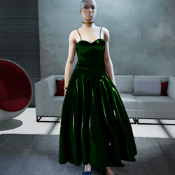 Female Cosmos Midnight-Green Metallic Gown (v2)