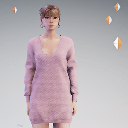 Quilted Sweater Dress Pink - HELLEN
