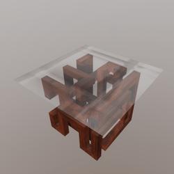 Modern Glass Top Table in Walnut Infinity Design