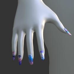 Iridescent Metal [Style 03] False Fake Nails Long