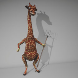 Giraffe with pitchfork