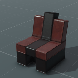Blocky Red Leather Club Chair