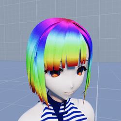 Anime Kihara Short Hair Rainbow