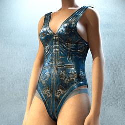 Swimsuit Blue Gold Sci-Fy Pilot Body