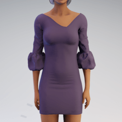 Bell-sleeve Dress - Purple Rayon