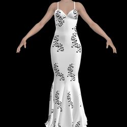 Elegant White Dress with Black Flowers
