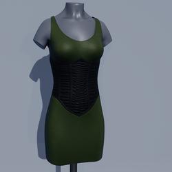 Corset Dress - Chive Green