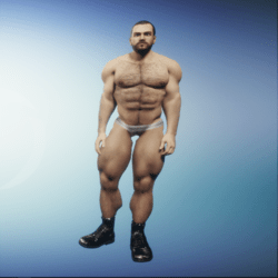 Hairy Musclar Avatar in censored Jockstrap and Shiny Black Boots