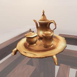Tea Coffee Set Service Gold Tray