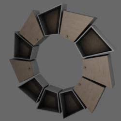 Pinwheel shelf