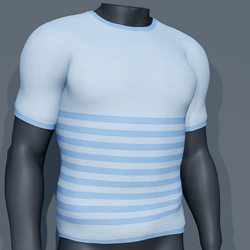 Men - Stripes Tee-Shirt - Blue