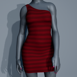 One Shoulder Striped Dress - Red