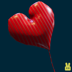 red lines heart balloon