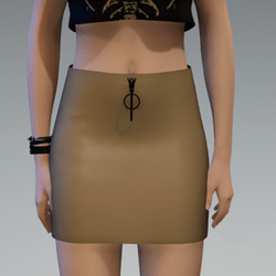 Goldbrown Leather Skirt with Black Zipper