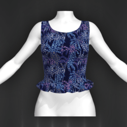 Laura top frill exotic blue